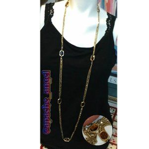 """Vtg 60's Gold Chain / Amber Glass 50"""" Necklace"""